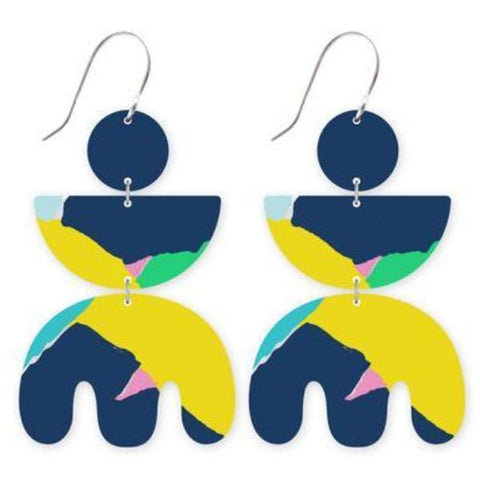 moe moe earrings 'blue leah triple shape drops' - the-tangerine-fox