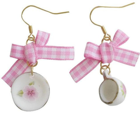 sugar earrings ' tea cup & saucer bow'