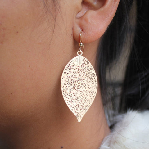 sugar earrings 'leaf' bright gold