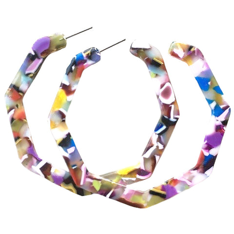 sugar earrings resin 'marbled hexie hoops' graffiti
