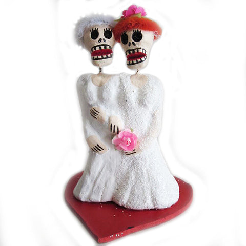 MEXICAN FOLK ART 'DAY OF THE DEAD TWO BRIDES' FIGURINE