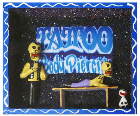 mexican nicho scene 'day of the dead tattoo parlour'