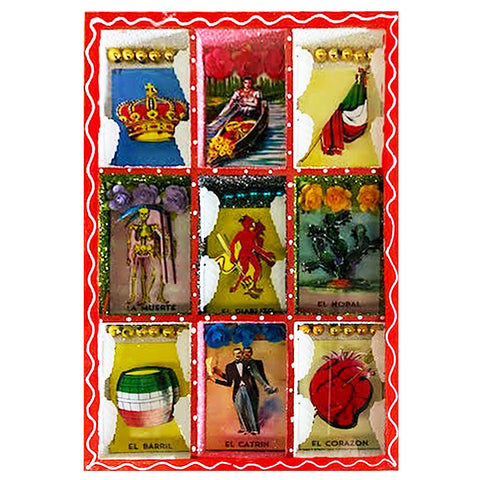 mexican nicho scene 'loteria collage'