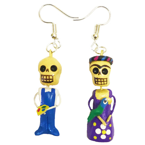 mexican earrings 'clay frida & diego'