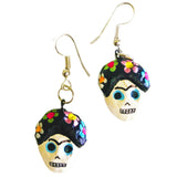 mexican earrings 'day of the dead frida with flowers' - the-tangerine-fox