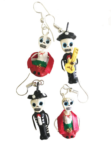 mexican earrings 'clay day of the dead lady & mariachi'