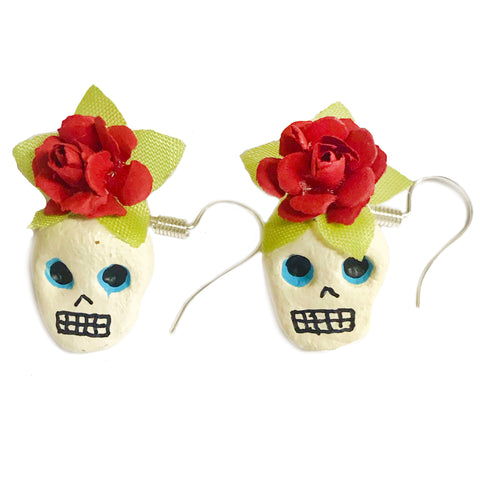 mexican earrings 'day of the dead skull with roses'