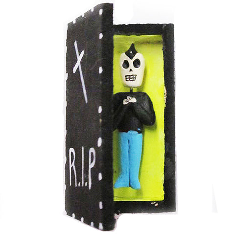 MEXICAN FOLK ART 'R.I.P. PUNK IN COFFIN' FIGURINE
