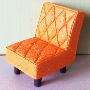 miniature chair 'quilted resin retro' orange