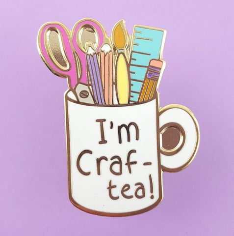jubly-umph enamel pin 'i'm craft-tea mug'