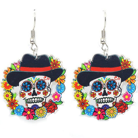 acrylic earrings black hat skull & flowers
