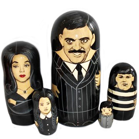 russian babushka dolls 5 set 'addams family' large