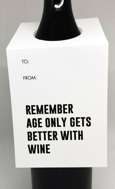 tagged australia wine tag / card 'remember, age only gets better with wine' - the-tangerine-fox