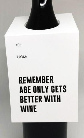 tagged australia wine tag / card 'remember, age only gets better with wine'