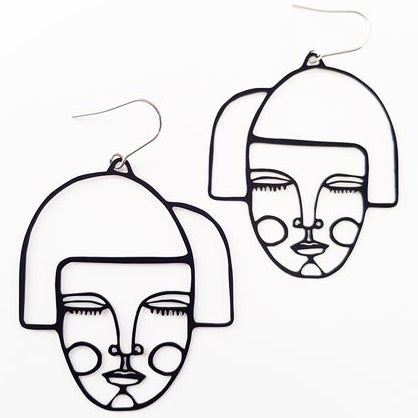 denz & co earrings 'wirebabes alice' black