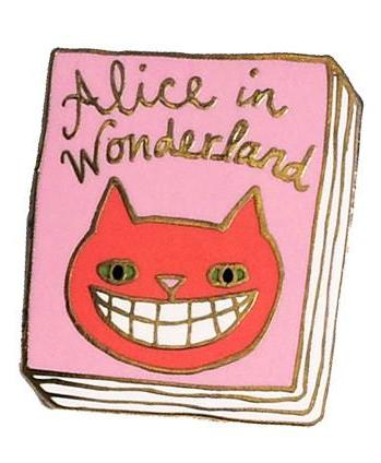 jane mount enamel pin 'alice in wonderland book'