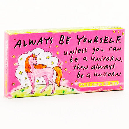 BLUE Q CHEWING GUM 'ALWAYS BE YOURSELF UNICORN'