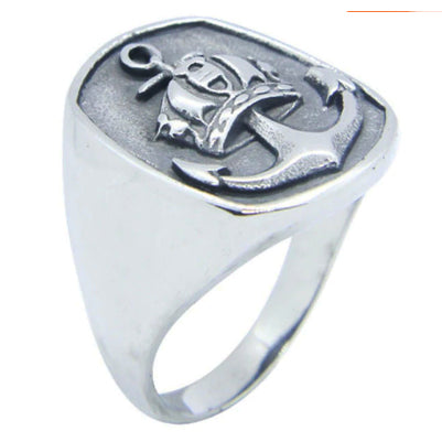 men's ring 'shield shape anchor' silver