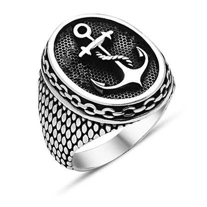 men's ring 'oval anchor signet' silver