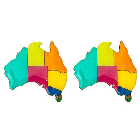 bok bok b'gerk earrings 'australia map' - the-tangerine-fox