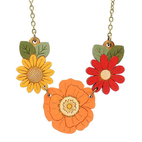 layla amber necklace 'autumn wildflowers'