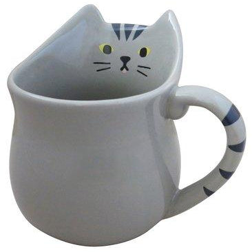 decole mug 'grey cat animal shape'