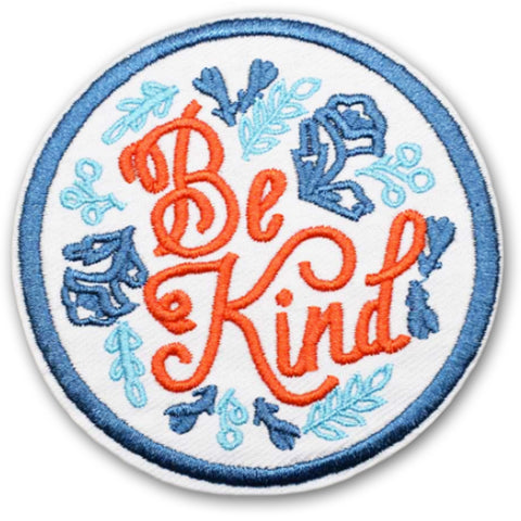 embroidered iron-on patch 'be kind'