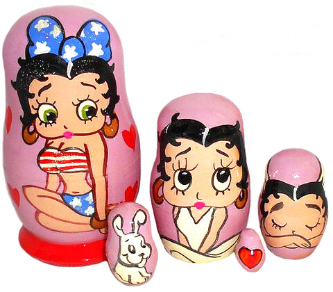 russian babushka dolls 5 set 'betty boop' small