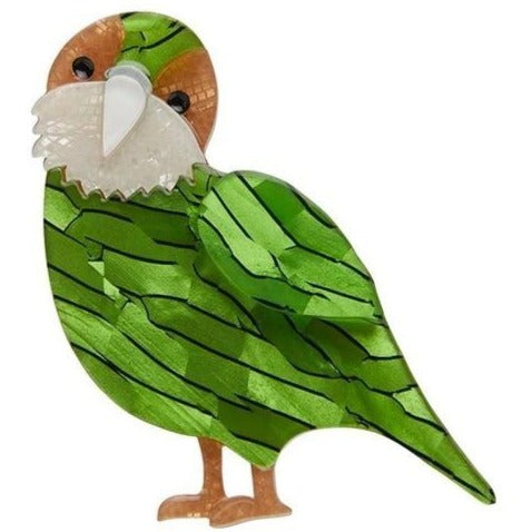 Just when you thought the Kakapo couldn't get any cuter, it can and will! Designer Jess Racklyeft  Height 50 mm x Width 60 mm  A brooch by Erstwilder