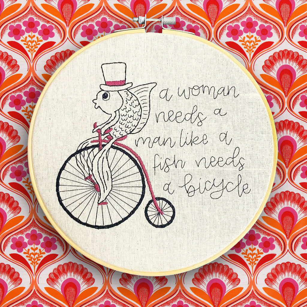 handmade by k embroidered hoop 'a fish needs a bicycle'