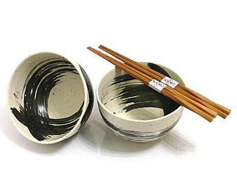 concept japan 2 bowl set 'white brushstroke'