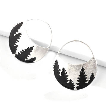 sugar earrings silver 'black trees'