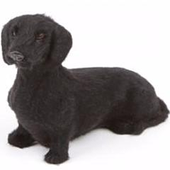 'BLACK DACHSHUND' FURRY FIGURINE