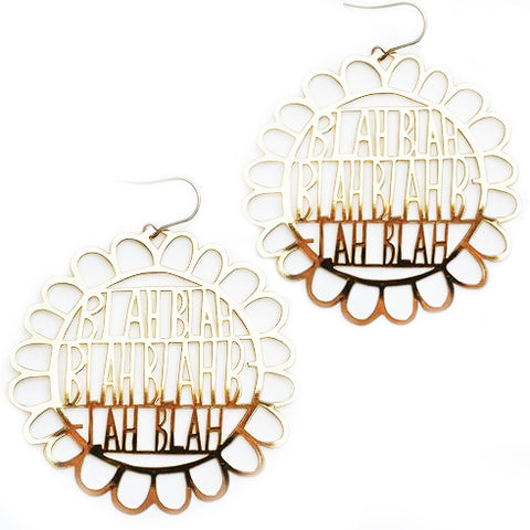 denz & co. earrings 'blah blah blah dangles' gold