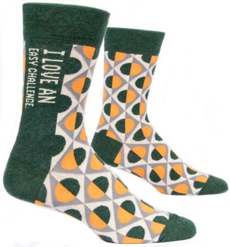 blue q men's socks 'i love an easy challenge' - the-tangerine-fox
