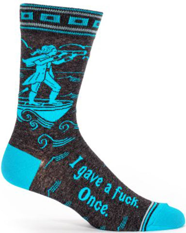 blue q men's socks 'i gave a f*ck once'