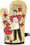 blue q oven mitt 'feed all you f*ckers'
