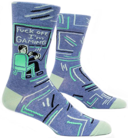 blue q men's socks 'f*ck off i'm gaming'
