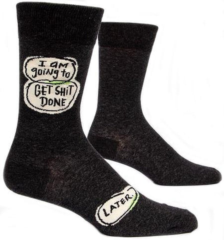 blue q men's socks 'get sh*t done later'