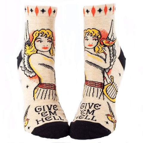 BLUE Q WOMEN'S ANKLE SOCKS 'GIVE 'EM HELL'