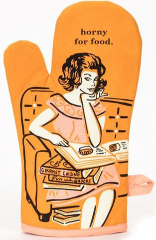 blue q oven mitt 'horny for food'