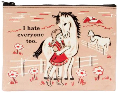 blue q zipper pouch 'i hate everyone too' - the-tangerine-fox