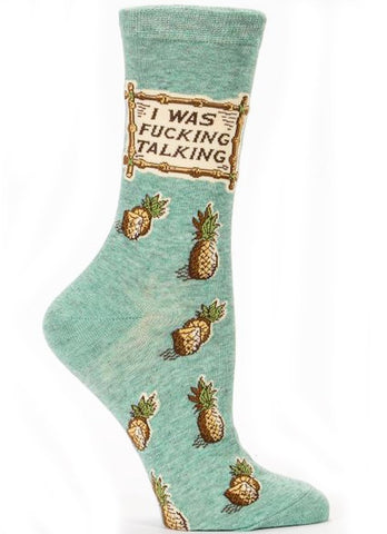 blue q women's socks 'i was f*cking talking'