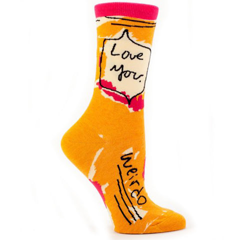 BLUE Q WOMEN'S SOCKS 'LOVE YOU WEIRDO'