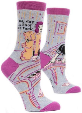 blue q women's socks 'my dog is cool as f*ck' - the-tangerine-fox