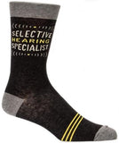 blue q men's socks 'selective hearing specialist'