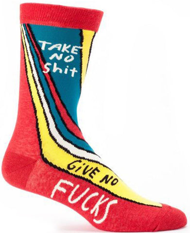 BLUE Q MEN'S SOCKS 'TAKE NO SH*T GIVE NO F@CKS'