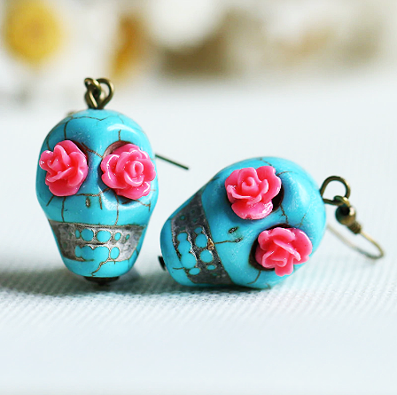 mexican earrings 'skull bead dangles blue' pink flower eyes