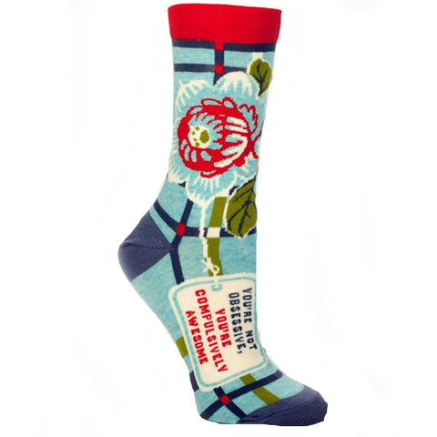 BLUE Q WOMEN'S SOCKS 'YOU'RE NOT OBSESSIVE, YOU'RE COMPULSIVELY AWESOME'