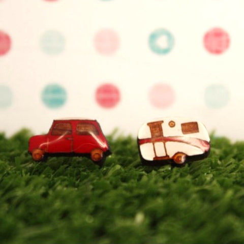 BOK BOK B'GERK 'CAR & VAN' EARRINGS RED